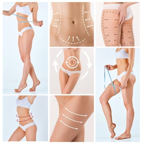 Collage of female body combing procedures with the drawing arrows