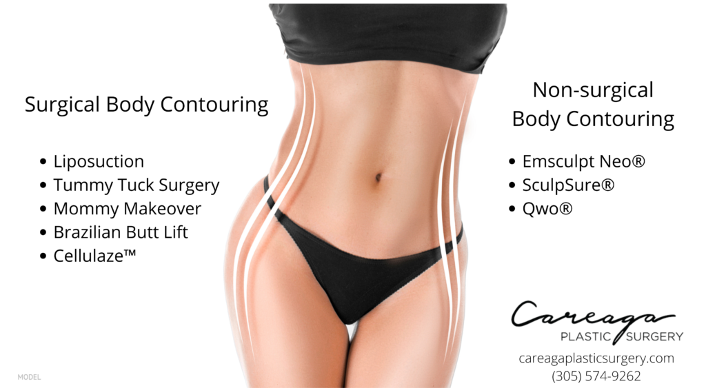 Woman's midsection figure with lists of surgical and non-surgical body contouring procedures listed.